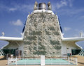 Climbing wall on cruiseship a recreational located the aft side of the main smokestack board a cruise ship Royalty Free Stock Image