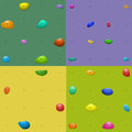 Climbing wall holds pattern set four colorful patterns Royalty Free Stock Images