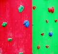 Climbing wall red and green with elements Royalty Free Stock Images