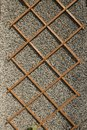 Wooden trellis on wall. Royalty Free Stock Photo