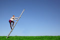 Climbing young girl climbs a ladder on green meadow with blue sky Stock Images
