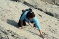 Climbing young white man a steep wall in mountain rock extreme sport summer season Stock Photos