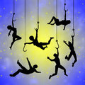 Cling to dreams concept sign of men and women clinging their hopes like drowning Royalty Free Stock Photo
