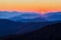 Clingmans dome great smoky mountains tennessee sunset from in the mountain national park in Stock Image