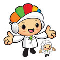 Clinical dietitian mascot has been welcomed with both hands wor work and job character design series Stock Photo