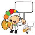Clinical dietitian mascot the left hand is holding a loudspeake loudspeaker and picket work and job character design series Stock Image