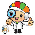 Clinical dietitian mascot look through a magnifying glass work and job character design series Stock Images