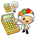 Clinical dietitian mascot points to the electronic calculator w work and job character design series Stock Image
