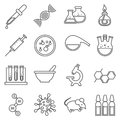 Clinical medical laboratory line vector icons set