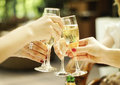 Clinking glasses of champagne Royalty Free Stock Photo