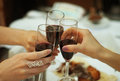Clinking glasses of champagne, wine Royalty Free Stock Photo