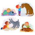 Clip art illustrations of little boys and their dogs