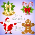 Clip-art for the New Year with Santa Claus, gingerbread, golden bells and holly