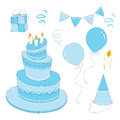 Clip art set for boy birthday Stock Photography