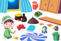 Clip Art Set: The Kid, Food, and Family Kitchen Stuff. Royalty Free Stock Photo