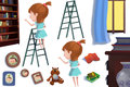 Clip Art Set: The Library Objects: Girl on the Book Shelf Ladder, Books, Photo Frame. Royalty Free Stock Photo
