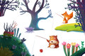 Clip Art Set: Nature Stuff: Forest Plant Tree, Animal Bear Fox, Flower Hill Island etc. Royalty Free Stock Photo
