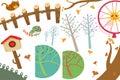 Clip Art Set: The Wonderland Objects: Cat, Postbox, Ginkgo Tree, Ferris Wheel. Royalty Free Stock Photo