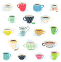 Clip art tea and coffee cup collection of cute cups Royalty Free Stock Photo