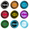 Clipart icons negligent arrow left icon the button with a conceptual pointer Royalty Free Stock Photography