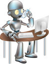 Clipart robot sitting desk Stock Photos