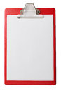 Clipboard with blank paper sheet isolated with