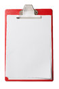 Clipboard with blank sheets of paper isolated with