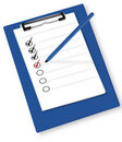 Clipboard with check-boxes. Royalty Free Stock Photos