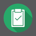 Clipboard with check mark flat icon. Round colorful button, circular vector sign with long shadow effect.