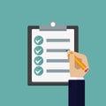 Clipboard checklist productivity hand check in a flat design