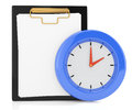 Clipboard and clock on white d schedule concept Stock Photos