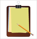Clipboard with color paper and pencil Royalty Free Stock Photos