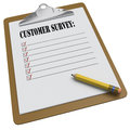 Clipboard with customer survey message and checkboxes stubby pencil on white background Royalty Free Stock Images