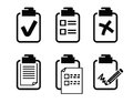 Clipboard icon vector black on white background Stock Images