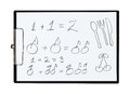 Clipboard and paper sheet with pencil drawing simple math example from fruits,  object Royalty Free Stock Photo