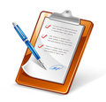 Clipboard with Pen Royalty Free Stock Photo