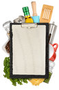 Clipboard set of kitchen tool with on top isolated on white background Royalty Free Stock Image