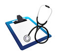 Clipboard with a stethoscope illustration design over white Royalty Free Stock Photos