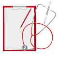 Clipboard, stethoscope, mercury thermometer. Medical. Vector illustration. Royalty Free Stock Photo