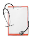 Clipboard and stethoscope Royalty Free Stock Photo