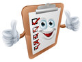 Clipboard survey mascot an illustration of a happy giving a double thumbs up Stock Photography