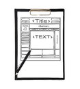 Clipboard with template web page and pen Stock Photo