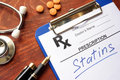 Clipboard with written prescription statins. Royalty Free Stock Photo