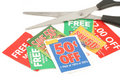 Clipping coupons Stock Image