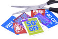 Clipping coupons Stock Photography