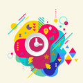Clock on abstract colorful spotted background with different ele elements flat design Stock Photos