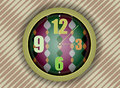 Clock on abstract wall colorful background Stock Images