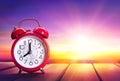 Clock Alarm At Sunrise - Waking Up Royalty Free Stock Photo