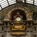 Clock on antwerp central railway station of close up Royalty Free Stock Image