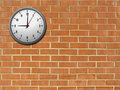 Clock on brick wall Royalty Free Stock Images
